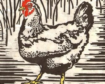 Chicken - Original Linocut  (Colored or Black and White)