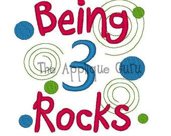 Being 3 Rocks -- Birthday Machine Embroidery Design