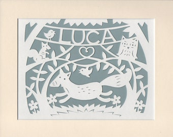 Personalised Woodland Nursery Decor, Fox and Owl and Squirrel,  Handcut Papercut, Lovely Gift for Baby Girl, Super Gift for Baby Boy