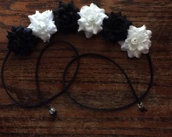 Black and White Flower Headband