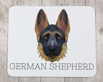 A computer mouse pad with a German Shepherd dog. A new collection with the geometric dog