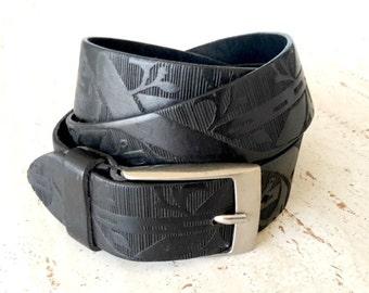 Leather belt in black , Mens leather belt , Wide leather belt , Tooled leather belt , Belt men