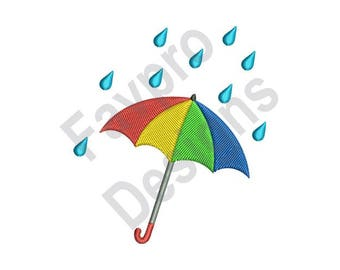 Colorful Umbrella - Machine Embroidery Design