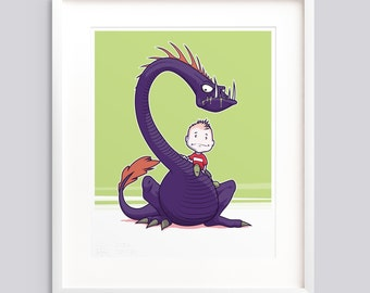 "Art Print - ""A Boy and His Monster"" v2 • Poster, wall art giclée print illustration"