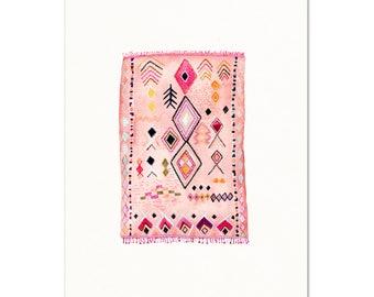 Moroccan Rug Watercolor Art Print. Blush Pink Rug Painting. Modern Boho Contemporary Art Print. Little Girl Nursery Art. Bright Kids Decor.