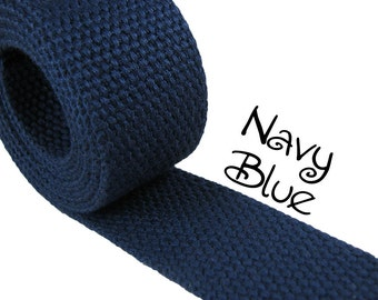 """Cotton Webbing - Navy Blue - 1.25"""" Medium Heavy Weight for Key Fobs, Purse Straps, Belting - SEE COUPON"""