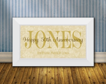 50th Wedding Anniversary Gifts, Family Name Print with Established Date, Golden Anniversary Gift, 50 Year Anniversary Gift Print