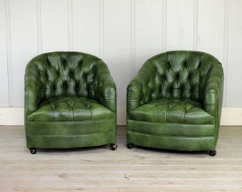 Vintage Sam Moore Tufted Barrel Arm Chair Original Green Vinyl Mid Century  60u0027s 70u0027s Tub Retro Swivel Casters