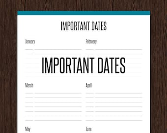 Important Dates - Fillable - Remember important dates, anniversaries and birthdays - Printable PDF - Instant Download