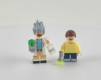 Rick and Morty with EXCLUSIVE Rick's Portal Gun-  Custom Minifigures