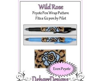 Bead Pattern Peyote(Pen Wrap/Cover)-Wild Rose