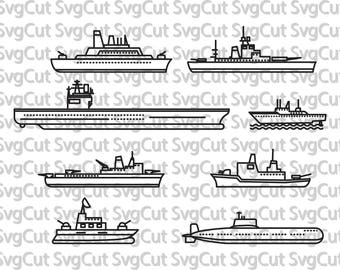 Marine Ships Army Marine troops War Ships Silhouette files Cricut design space digital download svg, eps, dxf, png