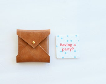 Square business card etsy vegan leather square envelope wallet square business card case brown card wallet card reheart Choice Image