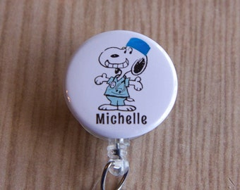 Snoopy Doctor,Nurse,OR Tech,PA,Student Badge Reel-Snoopy Personalized Badge Holder-Name Badge Reel-Retractable ID Holder-Doctor-Surgeon