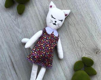 Teresa cat kitten plush / fabric doll, rag doll, heirloom doll