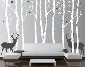 Perfect Birch Tree Wall Decal Forest With Snow Birds And Deer Vinyl Sticker  Removable (9 Trees