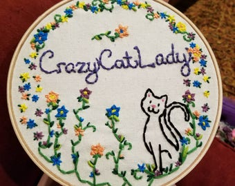 Crazy Cat Lady Floral Embroidery