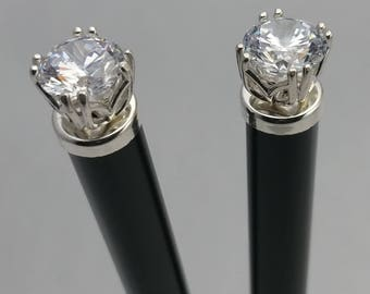 Hairsticks with Sterling Silver and CZ Accents