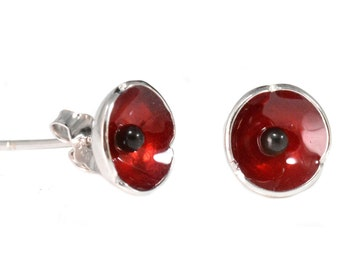 Dainty Little Sterling Silver Poppy Earrings