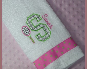 Tennis Gift Towel Personalized with Racket and Initial Hot Pink and Lime Green