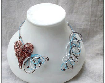Blue wedding with a Brown Heart Necklace