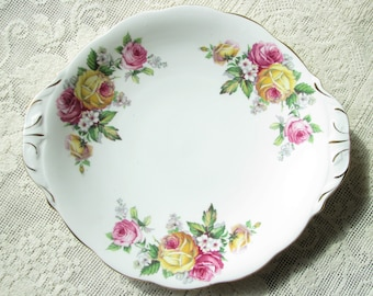 Vintage Queen Anne plate Manor Roses serving plate Bone china plate Sandwich plate Cake plate fruit plate Shower decor