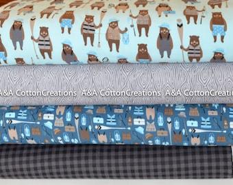 Brawny Bear Flannel Fabric, Blue Flannel Bundle of 4, Fishing fabric, Black Plaid, Boy Fabric, Camping Fabric, Robert Kaufman Fabrics