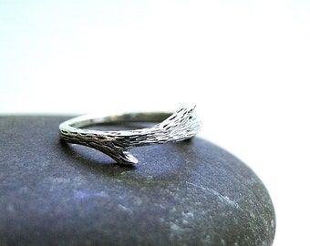 Silver twig ring, stackable silver ring, silver branch ring, silver fairy ring, skinny silver ring, tree branch ring, gift for her