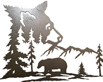 Bear Silouette Metal Wall Hanging