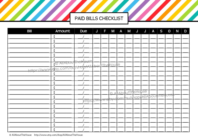 bill checklist template