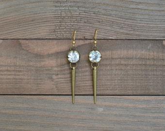CLOSEOUT Rhinestone Spike Earrings - Long Spike Earrings - Gold Rhinestone Dangle Earrings - Antique Gold Drop Earrings - Edgy Earrings