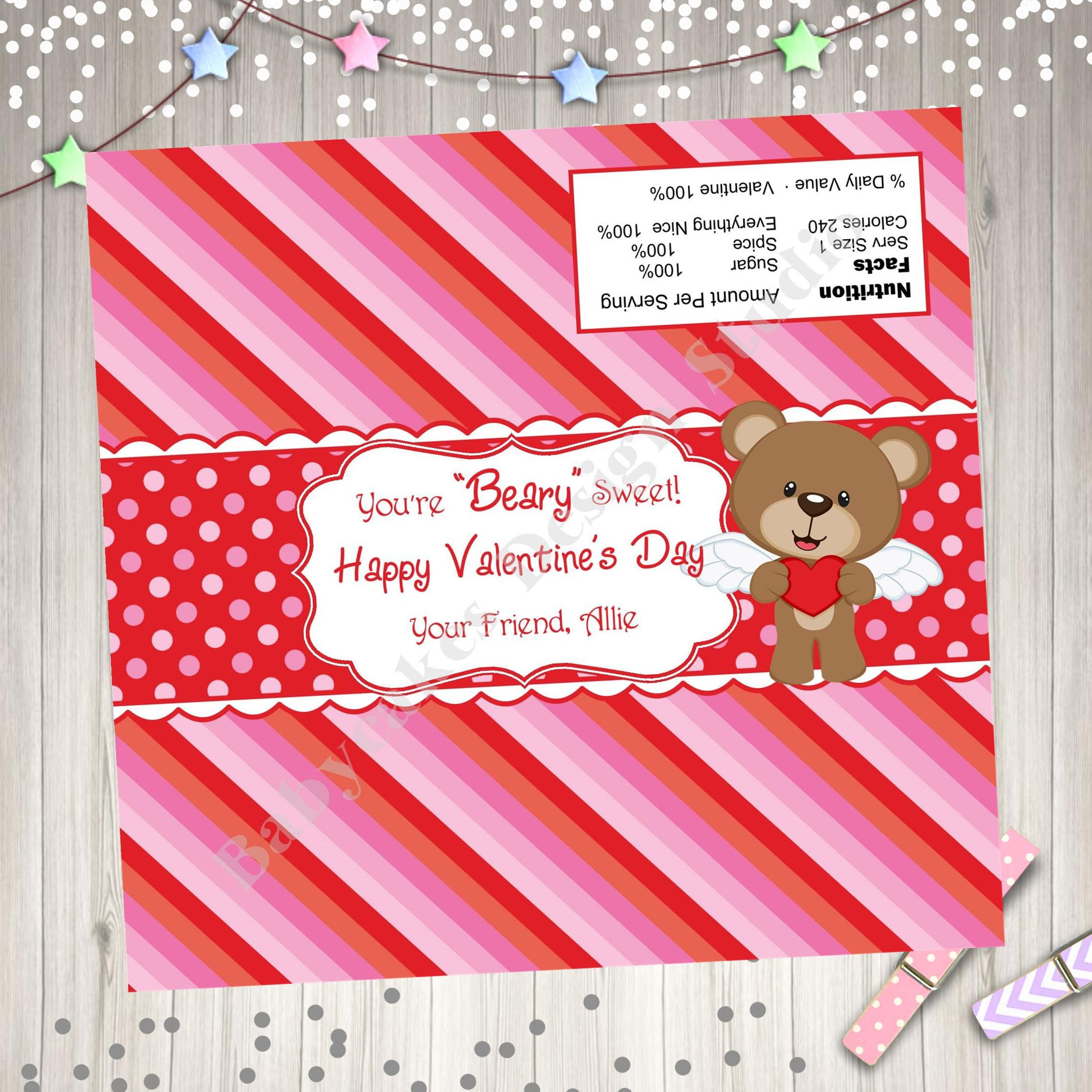 Valentine\'s Day Candy Bar Wrapper Hershey Bar wrapper Full