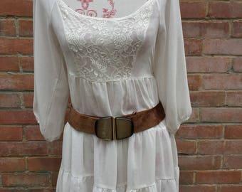 Vintage suede buckle belt brown