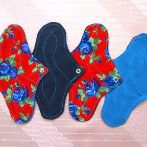 "4 pack flowery Panty-Liners~ washable 20cm / 8"" cloth pantyliners~ daily use/ light flow period/ tampon backup/ incontience~ natural & eco"
