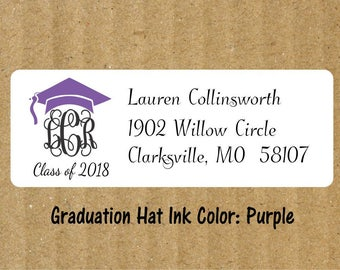 Graduation Interlocking Monogram Address Labels, 90 Labels, Graduation Return Address Labels, Interlocking Monogram, Graduation Labels
