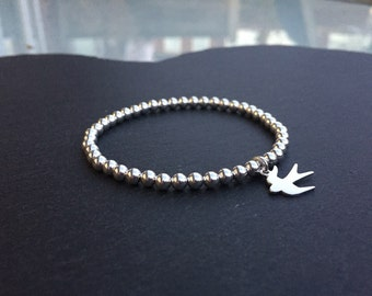 Silver Stretch Bracelet with Swallow Bird Charm