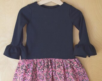 Dress in jersey and Liberty, daily dress, girl dress girl