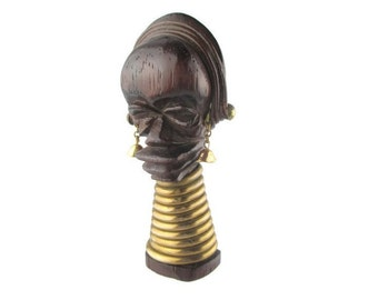 Martha Sleeper Ndebele Carved Wood Brass Brooch/ Ubangi Brooch Pin/ African Ndebele idzilla Neck Rings Pin / Carved African Wood Bust Pin
