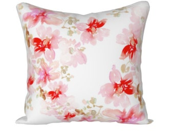 Pink and White Pillow Cover, Watercolor Floral Throw Pillow, Pink cushion cover, Summer Decor, Flower print Pillow cover, Decorative Pillow