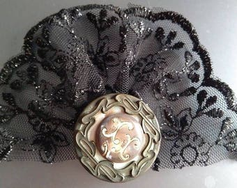 Vintage tulle with lace and antique button hairclips Liberty Recycling