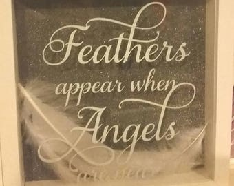 Feathers appear when angels are near frames with choices of background and vinyl colour