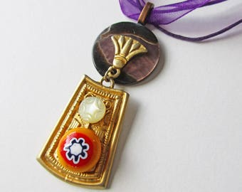 Button Pendant, Vintage Buttons, Boho Necklace, Button Necklace, Egyptian, Bohemian Jewelry, Upcycled, Millefiori Button, Colorful Pendant