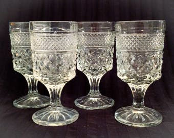 Wexford Water Goblets by Anchor Hocking,Set of 4,Clear Criss-Cross Pattern Glass,Heavy Crystal Wexford Stemware,Diamond Point Pattern