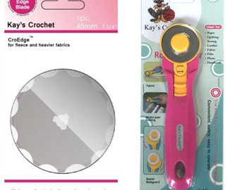 Kay's Crochet Edge Skip Fleece Blade with Kays 45 mm Rotary Cutter CroEdge Blades®™
