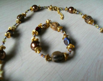 set (necklace and bracelet) summer, modern, chic (Brown and gold)