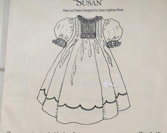 "Kay Guiles Designs ""Susan"" Girls Smocked Dress Vintage  3 4 5 6 7 8 10 UC Uncut FF"