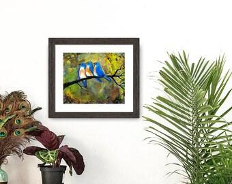 Bluebird, Bird Print, Wall Art, Three Little Birds, Woodland Decor, Nature, Home Decor, Bird Art, Bird Print, Giclee, Gift for Mom and Dad