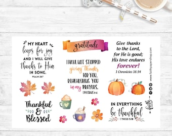 Christian Planner Stickers Scripture Stickers, Illustrated Faith, Bible Journaling, Happy Planner, ECLP, MAMBI, Bible Verse, GRATITUDE