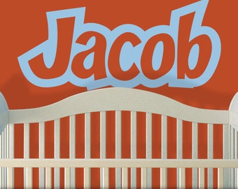 Superhero Nursery Boys Name Decal, Personalized Baby Nursery Wall Decal, Large Removable Vinyl Decal, Shown: Jacob (01711a3v)