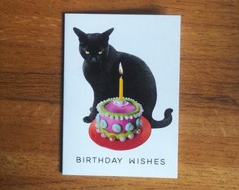 Black Cat Pearl Cake Birthday Card, Cat Glitter Birthday Card